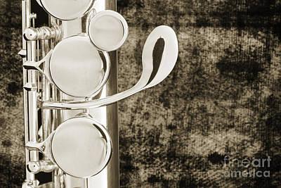 Alto Flute Instrument G Keys Photograph In Sepia 3456.01 Poster by M K  Miller