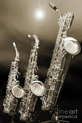 Alto Tenor Baritone Saxophone Photo In Sepia 3461.01 Poster