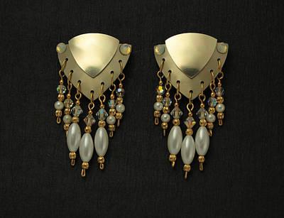 Aluminum Pearl Drop Earrings Poster by Laura Wilson