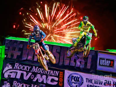 Ama 450sx Supercross Trey Canard Leads Chad Reed Poster by Blake Richards
