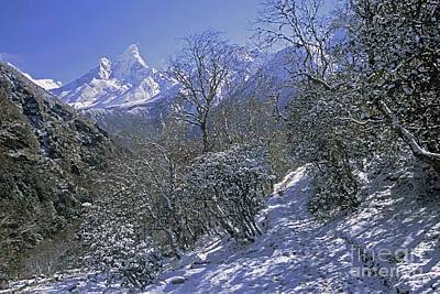 Poster featuring the photograph Ama Dablam In Winter by Rudi Prott