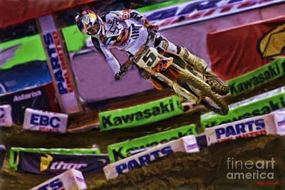Ama Supercross Ryan Dungey Flying Poster by Blake Richards