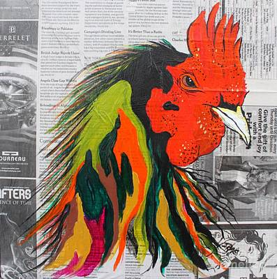 Poster featuring the painting Amadeo The Tuscan Rooster by Janice Rae Pariza
