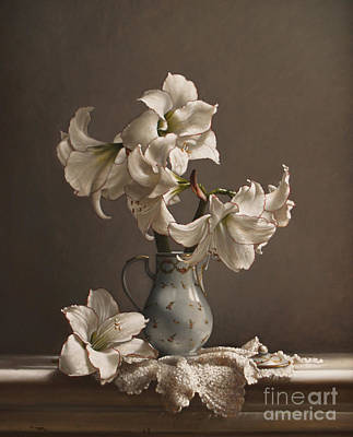 Amaryllis In A French Chocolate Pot Poster