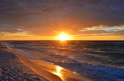Amazing Sunrise Colors And Waves On Navarre Beach Poster by Jeff at JSJ Photography