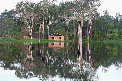 Poster featuring the photograph Amazon Reflections With Abandoned House by Nareeta Martin