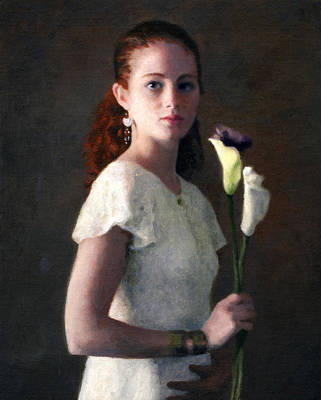 Amber With Lilies Poster by Charles Pompilius