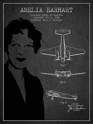 Amelia Earhart Lockheed Airplane Patent From 1934 - Dark Poster
