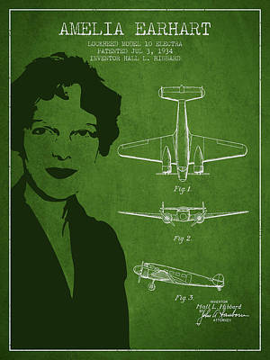 Amelia Earhart Lockheed Airplane Patent From 1934 - Green Poster