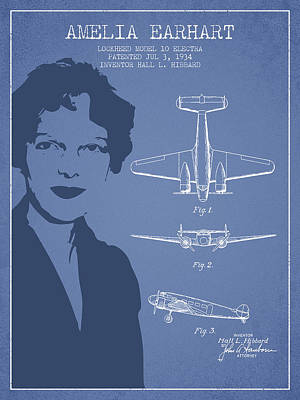 Amelia Earhart Lockheed Airplane Patent From 1934 - Light Blue Poster