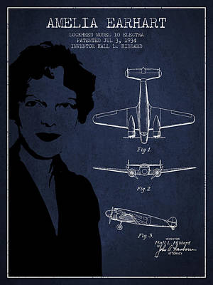 Amelia Earhart Lockheed Airplane Patent From 1934 - Navy Blue Poster