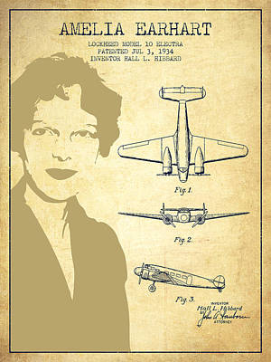 Amelia Earhart Lockheed Airplane Patent From 1934 - Vintage Poster