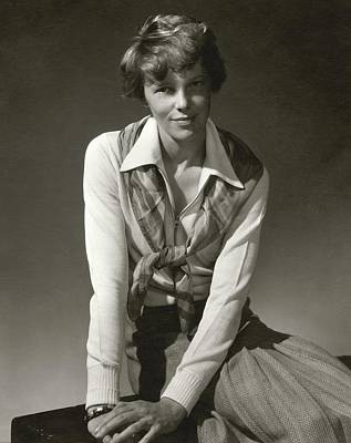 Amelia Earhart Wearing A Scarf Poster by Edward Steichen