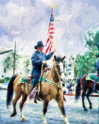 Poster featuring the painting America On Parade by Ike Krieger