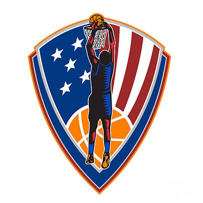 American Basketball Player Dunk Ball Shield Retro Poster
