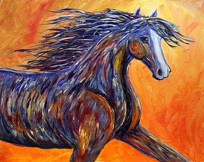 Poster featuring the painting American Beauty Abstract Horse Painting by Jennifer Godshalk