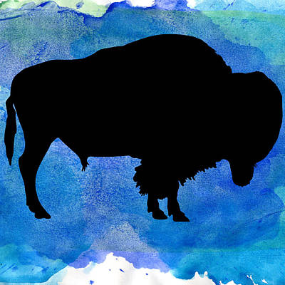 American Bison In Watercolor Poster by Celestial Images