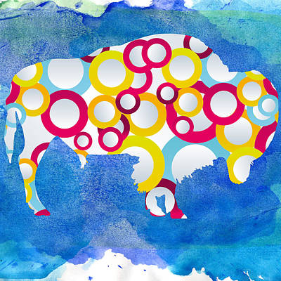 American Bison In Circles Poster by Celestial Images