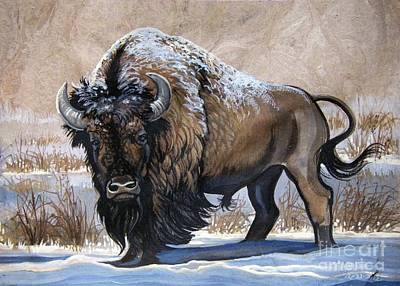 American Bison Winter Poster