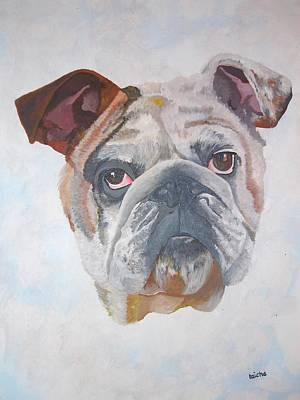 Poster featuring the painting American Bulldog Pet Portrait by Tracey Harrington-Simpson