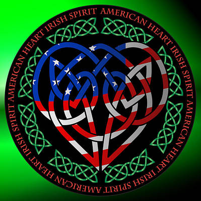 Poster featuring the digital art American Celtic Heart by Ireland Calling