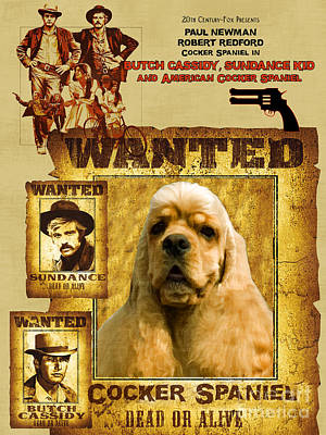 American Cocker Spaniel Art Canvas Print - Butch Cassidy And The Sundance Kid Movie Poster Poster by Sandra Sij