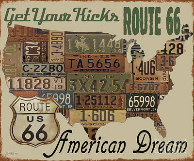 American Dream-route 66-2 Poster by Jean Plout