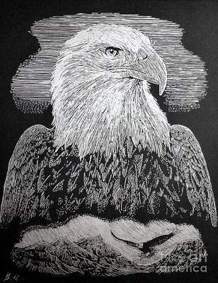 American Eagle _ Engraving On Silver Foil Poster