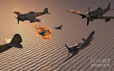 American F4u Corsair Aircraft Attacking Poster by Mark Stevenson