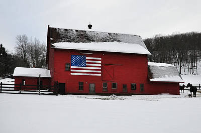 American Flag Barn In Winter Poster by Bill Cannon