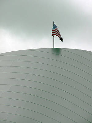 American Flag On Modern Museum In La Poster