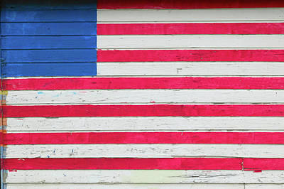 American Flag Painted On Side Of Rustic Poster