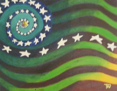 Poster featuring the painting American Flag Reprise by Thomasina Durkay