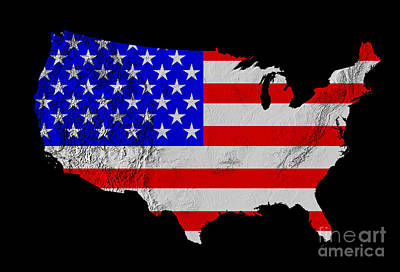 American Flag Seen On Us Shaded Digital-relief Map Poster
