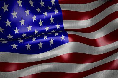 American Flag Waving On Canvas Poster by Eti Reid