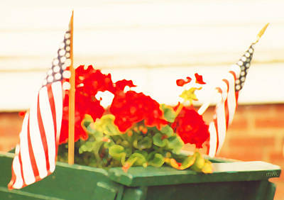 American Flags And Geraniums In A Wheelbarrow One Poster by Marian Cates