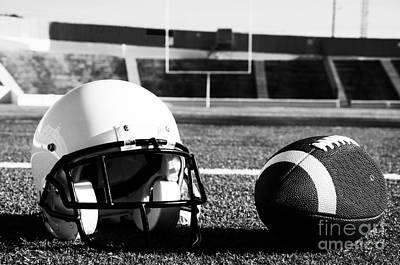 American Football And Helmet On Field Poster