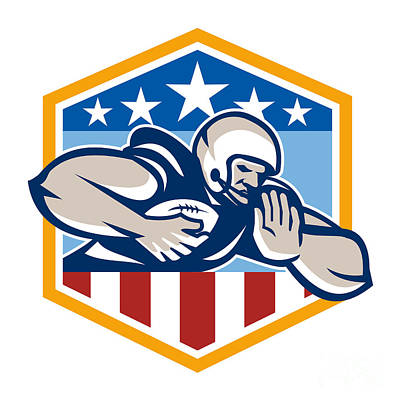 American Football Running Back Fend-off Crest Poster