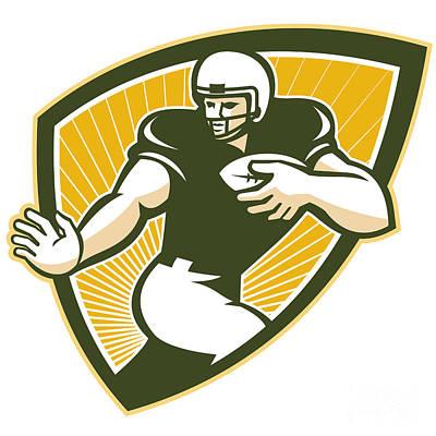 American Football Running Back Shield Poster