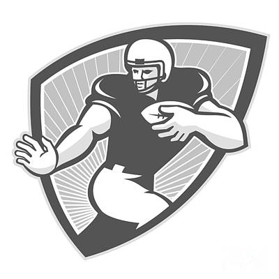American Football Running Back Shield Grayscale Poster