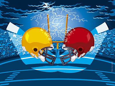American Football Stadium Helmet Lightning Poster by Frank Ramspott
