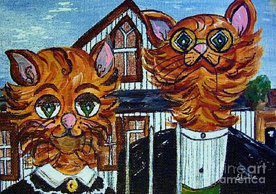 Poster featuring the painting American Gothic Cats - A Parody by Eloise Schneider