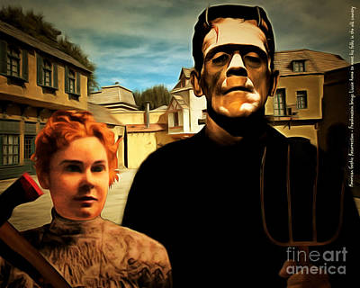 American Gothic Resurrection Frank Brings Lizzie Home To Meet His Folks In The Old Country With Text Poster by Wingsdomain Art and Photography