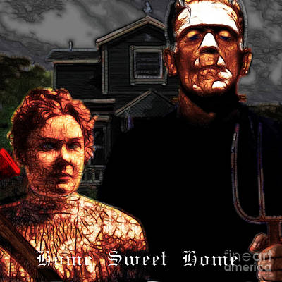 American Gothic Resurrection Home Sweet Home 20130715 Square Poster by Wingsdomain Art and Photography