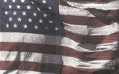 Historical Documents On Us Flag Poster