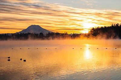 American Lake Misty Sunrise Poster