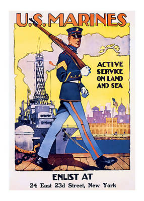 American Marines  Vintage Ww2 Art Poster by Presented By American Classic Art