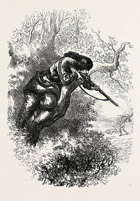 American Marksman Up A Tree, Us, Usa Poster by English School