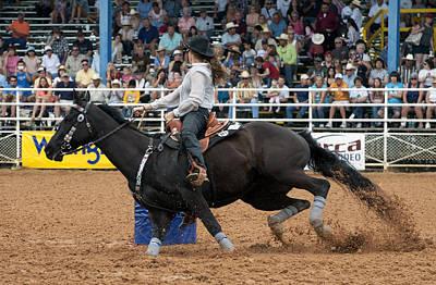 American Rodeo Female Barrel Racer Dark Horse I Poster by Sally Rockefeller