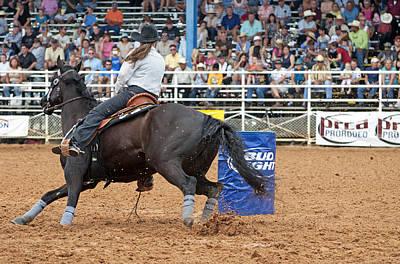 American Rodeo Female Barrel Racer Dark Horse IIi Poster by Sally Rockefeller